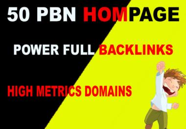 Build 50 HOMEPAGE High Quality PA DA TF CF Do follow PBN Backlinks