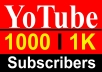 Increase 1000+ Youtube High Quality Permanent Subscribers
