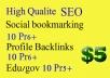 create 10 pr6 Social bookmarking,10 pr6 profile backlinks,10 pr5 edu and gov