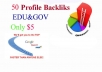 build manually 50 edu and gov profiles backlinks Ping just