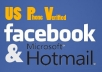 give you FACEBOOK& HOTMAIL account 2010 US PV